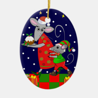 ネズミを持つかわいいクリスマスのオーナメント セラミックオーナメント