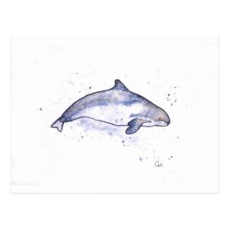 ネズミイルカのイラストレーション ポストカード