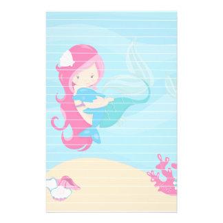 ネズミイルカを持つピンクの髪の人魚 便箋