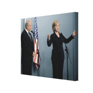 ネタニヤフ及びヒラリー・クリントン総理大臣 キャンバスプリント