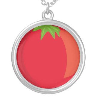 ネックレスのあたりでめっきされるトマトの大きい銀 シルバープレートネックレス