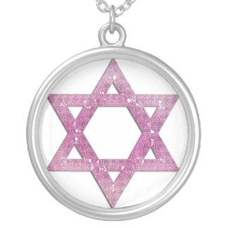 ネックレスのデザイン紫色2のグリッターのダビデの星 シルバープレートネックレス