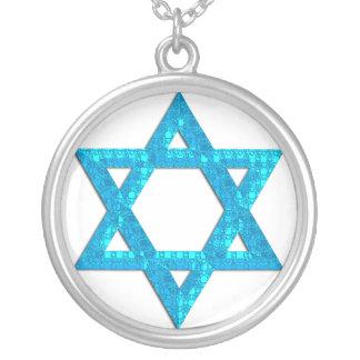 ネックレスのデザイン青3のグリッターのダビデの星 シルバープレートネックレス