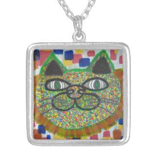 ネックレスのライオンの鬣の芸術の虹猫 シルバープレートネックレス