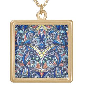ネックレスの花柄の抽象芸術の背景 ゴールドプレートネックレス