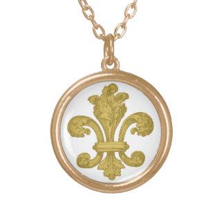 ネックレスの金ゴールドを引くヴィンテージの(紋章の)フラ・ダ・リ ゴールドプレートネックレス