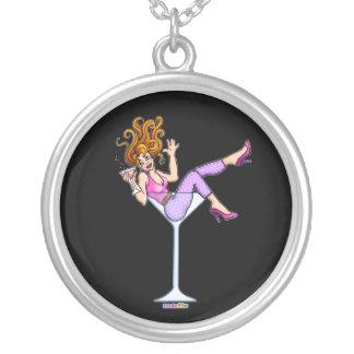 ネックレス-マルティーニガラスの女の子-赤い少し シルバープレートネックレス