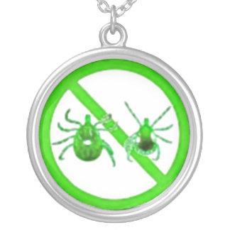ネックレス、ライム病のカチカチの認識度、緑のカチカチ シルバープレートネックレス