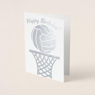 ネットボールのテーマの球のデザインのハッピーバースデー 箔カード