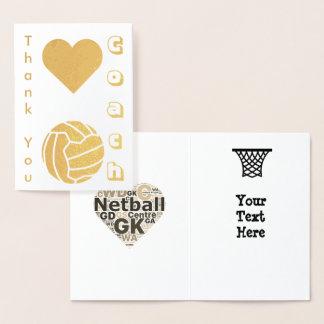 ネットボールプレーヤーのコーチは金ゴールド感謝していしています 箔カード
