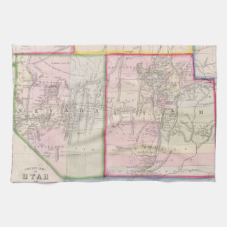 ネバダおよびユタ(1866年)のヴィンテージの地図 キッチンタオル