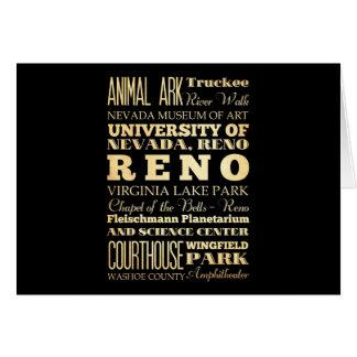 ネバダの州のタイポグラフィの芸術のレノ都市 カード