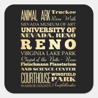 ネバダの州のタイポグラフィの芸術のレノ都市 スクエアシール