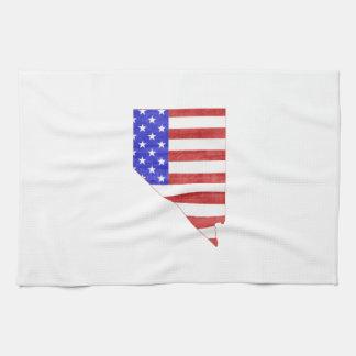 ネバダ米国の旗のシルエットの州の地図 キッチンタオル