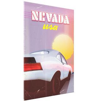 ネバダ米国の落日のスポーツ・カー キャンバスプリント