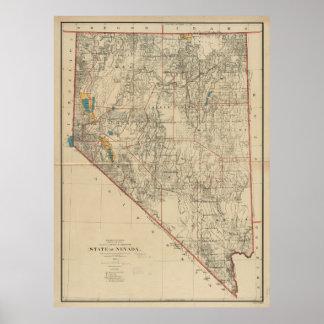 ネバダ(1894年)のヴィンテージの地図 ポスター