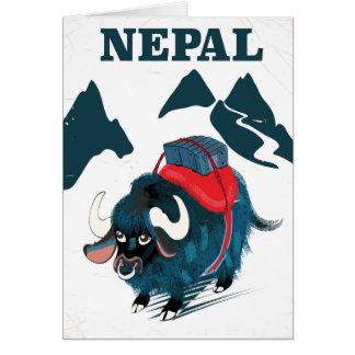ネパールのヤクのヴィンテージのスタイル旅行ポスター グリーティングカード