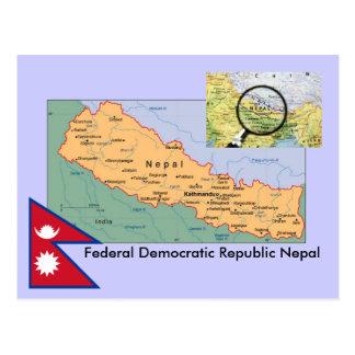 ネパールの地図 ポストカード