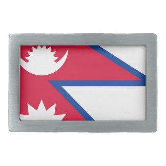 ネパール- नेपालकोझण्डाの旗 長方形ベルトバックル
