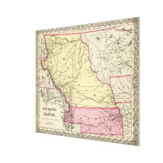 ネブラスカおよびカンザス(1856年)のヴィンテージの地図 キャンバスプリント