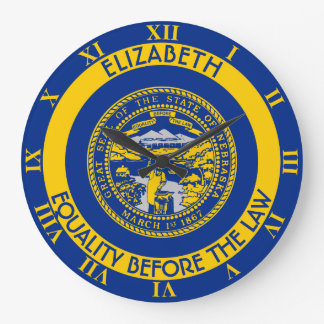 ネブラスカのネブラスカ州人の州の名前入りな旗 ラージ壁時計