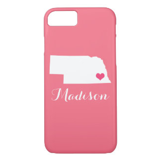 ネブラスカのハートのピンクのカスタムのモノグラム iPhone 8/7ケース