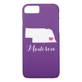 ネブラスカのハートの紫色のカスタムなモノグラム iPhone 8/7ケース