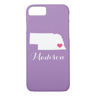 ネブラスカのハートの薄紫のカスタムのモノグラム iPhone 8/7ケース