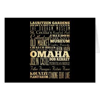 ネブラスカの州のタイポグラフィの芸術のオマハ都市 カード