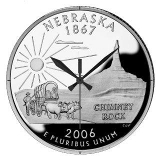 ネブラスカの州の四分の一の時計 ラージ壁時計