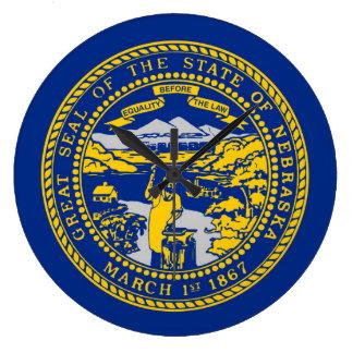 ネブラスカの州の旗統一されたなアメリカ共和国の記号 ラージ壁時計