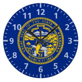 ネブラスカの州の旗 ラージ壁時計