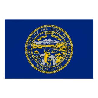ネブラスカの旗が付いている愛国心が強い壁ポスター ポスター