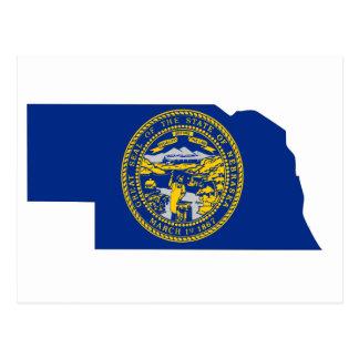 ネブラスカの旗の地図 ポストカード