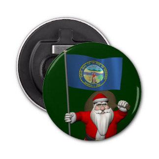 ネブラスカの旗を持つサンタクロース 栓抜き
