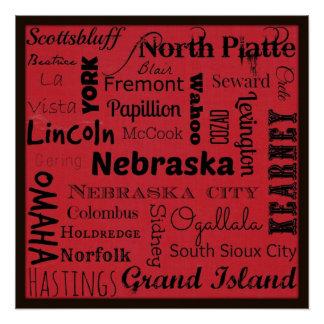 ネブラスカ都市タイポグラフィの芸術ポスター ポスター