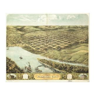ネブラスカ都市、ネブラスカ(1868年)の鳥瞰的な眺め キャンバスプリント