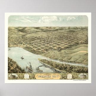 ネブラスカ都市、NEのパノラマ式の地図- 1868年 ポスター
