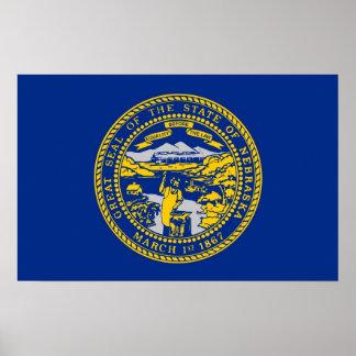 ネブラスカ、米国の旗が付いている組み立てられたプリント ポスター
