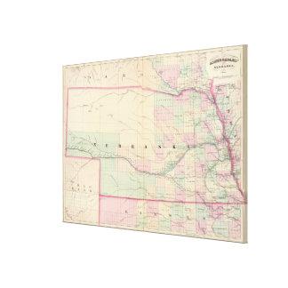 ネブラスカ(1874年)のヴィンテージの地図 キャンバスプリント