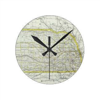 ネブラスカ(1889年)のヴィンテージの地図 ラウンド壁時計