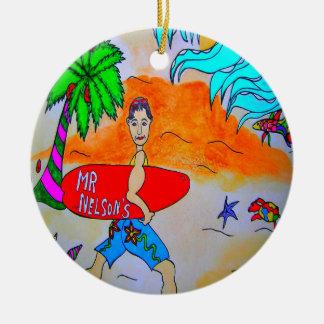 ネルソン氏サーファーのクリスマスのオーナメント セラミックオーナメント
