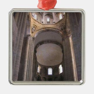 ネーブの眺め、c.1050 (写真) シルバーカラー正方形オーナメント