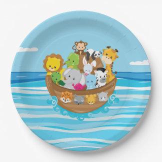 ノアの箱舟のテーマ の赤ん坊動物 ペーパープレート