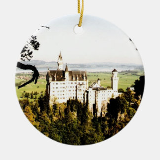 ノイシュヴァンシュタイン城の城-オーナメント 陶器製丸型オーナメント
