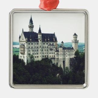 ノイシュヴァンシュタイン城の城 シルバーカラー正方形オーナメント