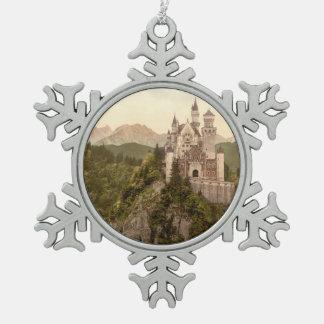 ノイシュヴァンシュタイン城の城、ババリア、ドイツ ピューター製スノーフレークオーナメント