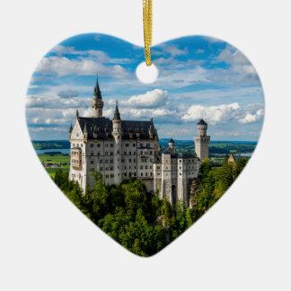 ノイシュヴァンシュタイン城の城-ババリア-ドイツ 陶器製ハート型オーナメント