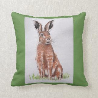 ノウサギの水彩画 クッション