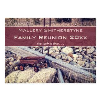 ノスタルジックで赤いワゴン家族会の招待状 12.7 X 17.8 インビテーションカード